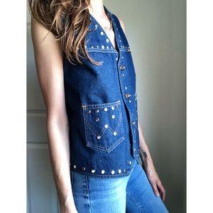 Vintage Jackets & Coats - Vintage studded denim wrangler vest